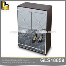 2015 Goodlife Hotselling Mirror 4 tier shoe rack, storage cabinet