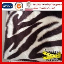 Huzhou best seller 100% polyester soft zebra print long pile plush fake fur fabric