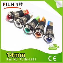 Filn Red Green Yellow Blue White 14mm metal led signal light 12v 24v(factory selling)