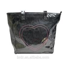 China Bags Manufacturer Hot Sale Leopard Printed Black PVC Young Women Handbag