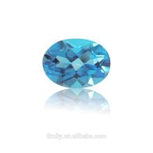 Semi-precious gemstone calibrated size brilliant cutting Oval Blue Topaz