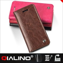 QIALINO Custom Print Genuine Leather Wallet Card Holder Case For Iphone 5S