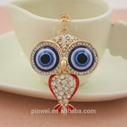 owl design fashion rhinestone key chain crystal key ring SK2246