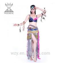 china supplier 2pcs belly dance dresses ,tribal dress design costumes
