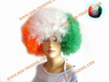cheap football fans wig,party wig,crazy wig grade virgin indian curly hair