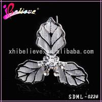 Magic cheap hair decoration wedding hair jewelry metal leaf silver hair fork (SDML-0224)