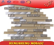 Easy to stick strip glass blending aluminium mosaic tile