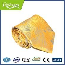 New popular style yellow ripple woven hot sale silk ascot necktie