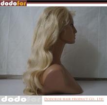 Real long blonde human hair wig
