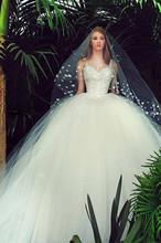 Elegant square neck empire couture puffy ball gown sale vestidos de novia 2015 AED-165 hot alibaba wedding dress online shopping