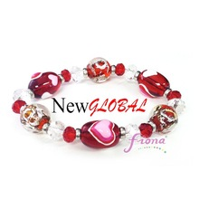 Heart Valentine 2015 Handmade Glass Bead Stretch Bracelet