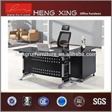 Eleglant modern office table design with steel leg glass executive deskHX-GL016