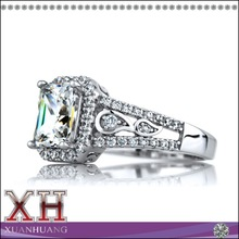 Fashionable Deco Style Emerald Cut CZ Engagement Ring