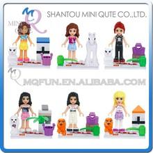 Mini Qute LELE 6pcs/set plastic kawaii friends girls kids models gift building block action figures educational toy NO.78021