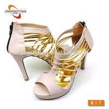New product golden unique ankle sandal for woman