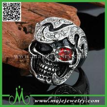 Punk diamond skull bulk sale stainless steel rings wholesale jewelry