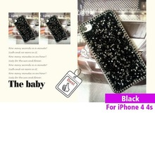 New sheet mesh Shiny Bling black stones phone Crystal protect Case Cover trimming For cell Phone