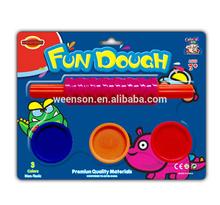 Colourful color modeling clay plasticine clay playdough 3x1 oz fun dough + roller set