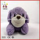 Custom cute purple soft dog with ribbon plush toys free sample