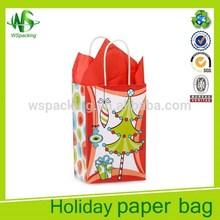 Christmas trees gift bag white kraft bag mini kraft paper gift bag