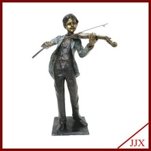 Cast Bronze Boy Playing Violin Statue