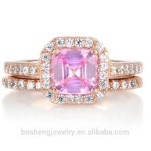 Elegant Rhodium Plated Gift Design Pink CZ Ring Set