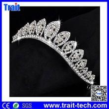 Leaf Pattern Diamond Pageant Crown / Alloy Bridal Tiara Crown