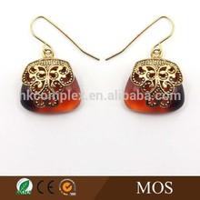 Best selling product ladies resin gold earrings