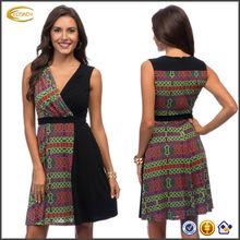 OEM wholesale New York Women's plunging V-neck sleeveless mini Black Two-tone Wrap Dress