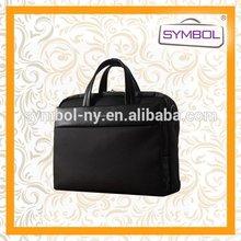Modern cheap pu women's black real leather laptop bag