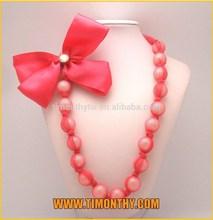 Ribbon bow decorative necklaces latest design beads necklace