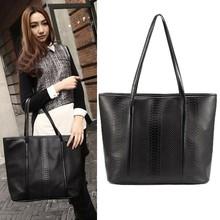 korean Women's Black Animal Pattern Leather Big One Shoulder Tote Bag SV001386