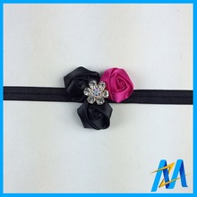 Wholesale Cute Baby Flower Hair Band Hot Pink And Black Baby Flower Headbands With Stone Stretch Foe Headband With Rose Flowers