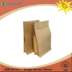 Kraft paper block bottom bag with zipper stand up zipper reseal