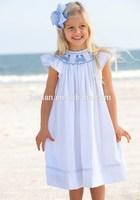 2015 Fashion design baby child bishop dress white Mermaid smocked bishop dress for infant toddler girls