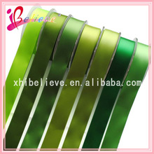 Green colors solid color satin polyester ribbon wholesale make ribbon rosette