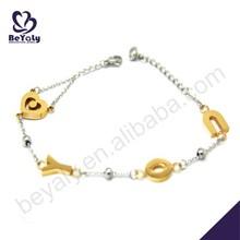 Boutique gold alphabet design for girls bracelet wholesales