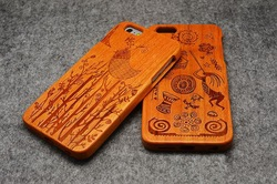 Handmade Natural Wood Wooden Hard bamboo Case Cover for iPhone 5 with free screen protector