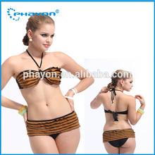 OEM&ODM 2015 sweet girl sexy bandeau extreme transparent brown bikini