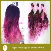 Malaysian virgin hair Wavy Ombre 1b/dark purple/light purple, Malaysian Wavy human hair weave free shipping 3pcs/lot