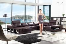 U shape top grain leather house furniture