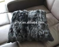 YR520 45*45cm Rabbit scrap fur cushion cover/rabbit fur pillow