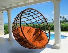 Crystal Outdoor round plastic wicker Rattan hammock Hanging swing chair Plasctic Rattan Outdoor Furniture