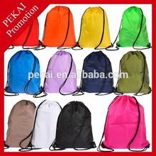 2015 Custom Logo Printing Colored Plastic Drawstring Backpack