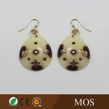 2015 Sexy hot white jade light weight resin round dangle earrings inlay with lovely alloy plating heart