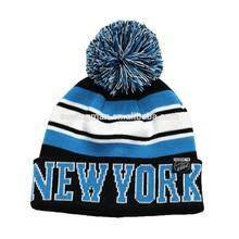 NEW YORK acrylic jacquard stripes knit pom pom beanie hat bobble hat