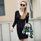 Ladies V-Neck Long Sleeve Dress