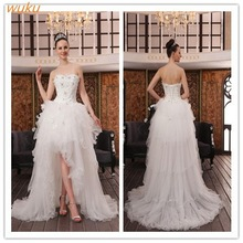 2015 Sexy front short back long wedding dresses