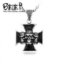 Factory one piece Jewelry Biker Iron Cross Flame three Skull Pendant Titanium Men jewelry BP-116