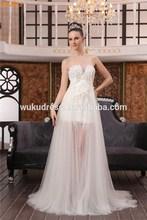 Sexy front short back long wedding dress